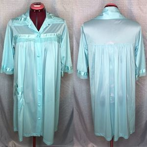 Vintage sheer satin robe sea foam green
